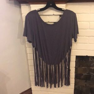 Grey fringe top